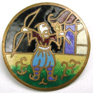 Antique Champleve Enamel Button Man Shooting An Arrow From A Bow 15/16