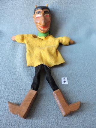 Antique Wooden Punch And Judy Hand Puppet ' The Devil ' 1920 ' S German 2 photo