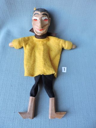 Antique Wooden Punch And Judy Hand Puppet ' The Devil ' 1920 ' S German 1 photo