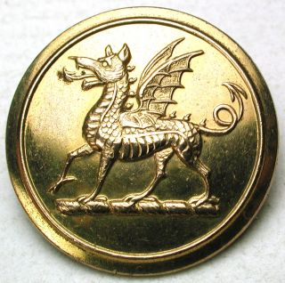 Antique Brass Livery Button - Detailed Dragon Image - Doughty - 1