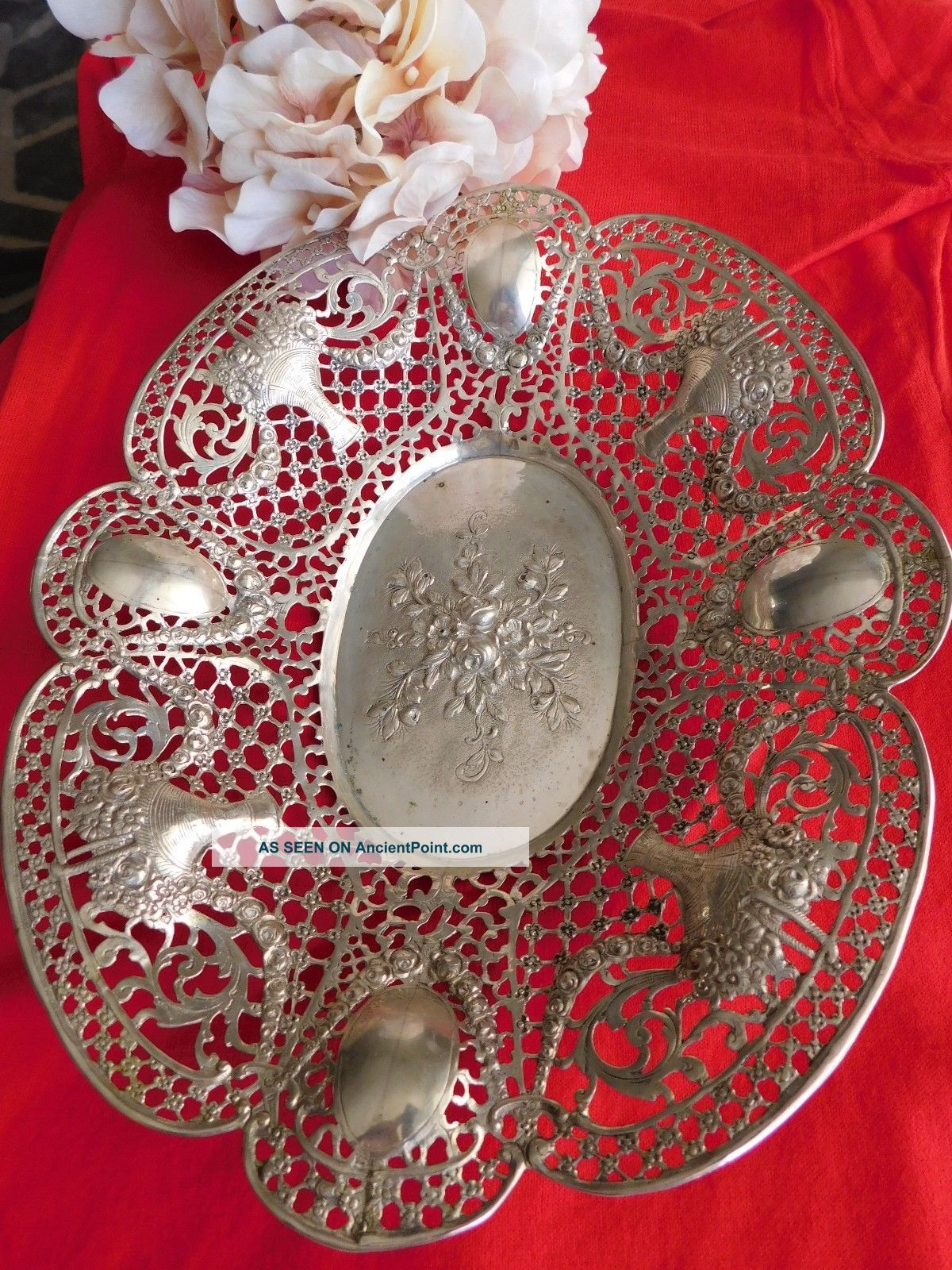 Vintage Silver 800 Filigree Scalloped Victorian Bowl Basket Dish Roses Flowers Coin Silver (.900) photo