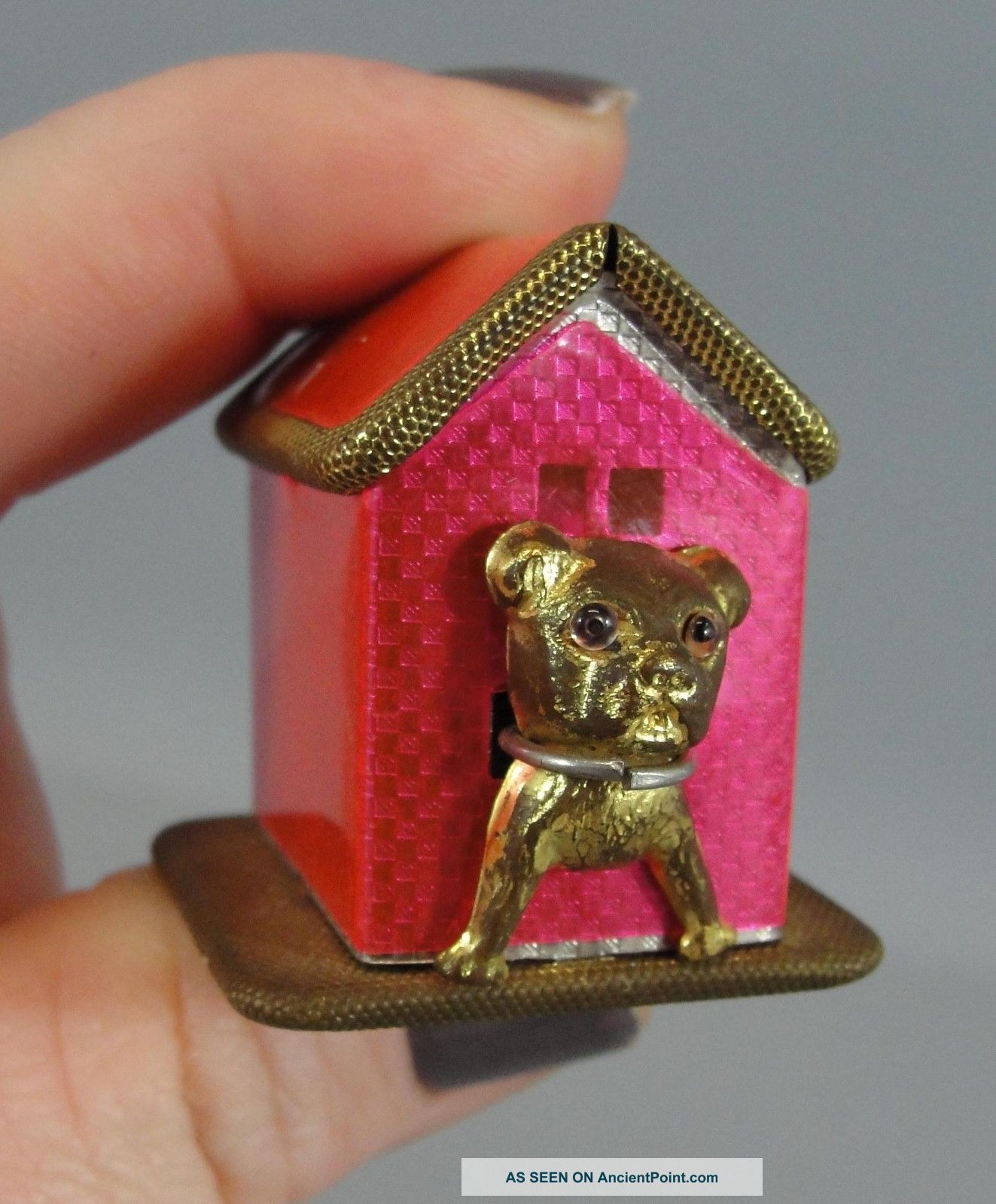 Antique German French Bull Dog Brass Novelty Figural Sewing Measuring Tape Tools, Scissors & Measures photo