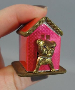 Antique German French Bull Dog Brass Novelty Figural Sewing Measuring Tape photo