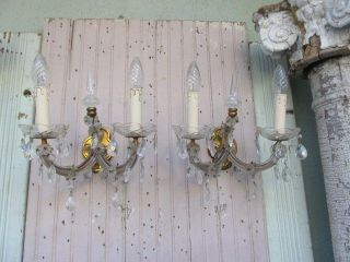 Exquisite Pair Old Vintage Sconces Wall Lights Dripping Shapely Crystals photo