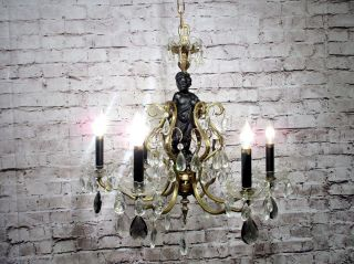 Antique Vintage Chandelier Bronze Cherub Black Crystal Lavish Rare Rewired photo
