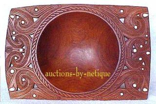 Polynesian Maori Zealand Ornate Carved Wood Bowl W Mother Pearl Nr photo