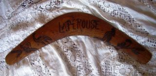 Vintage La Perouse Boomerang - Poker Work Decorated With Animals. photo
