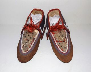 Antique Native American Indian Beaded Leather Vtg Iroquois Moccasins photo
