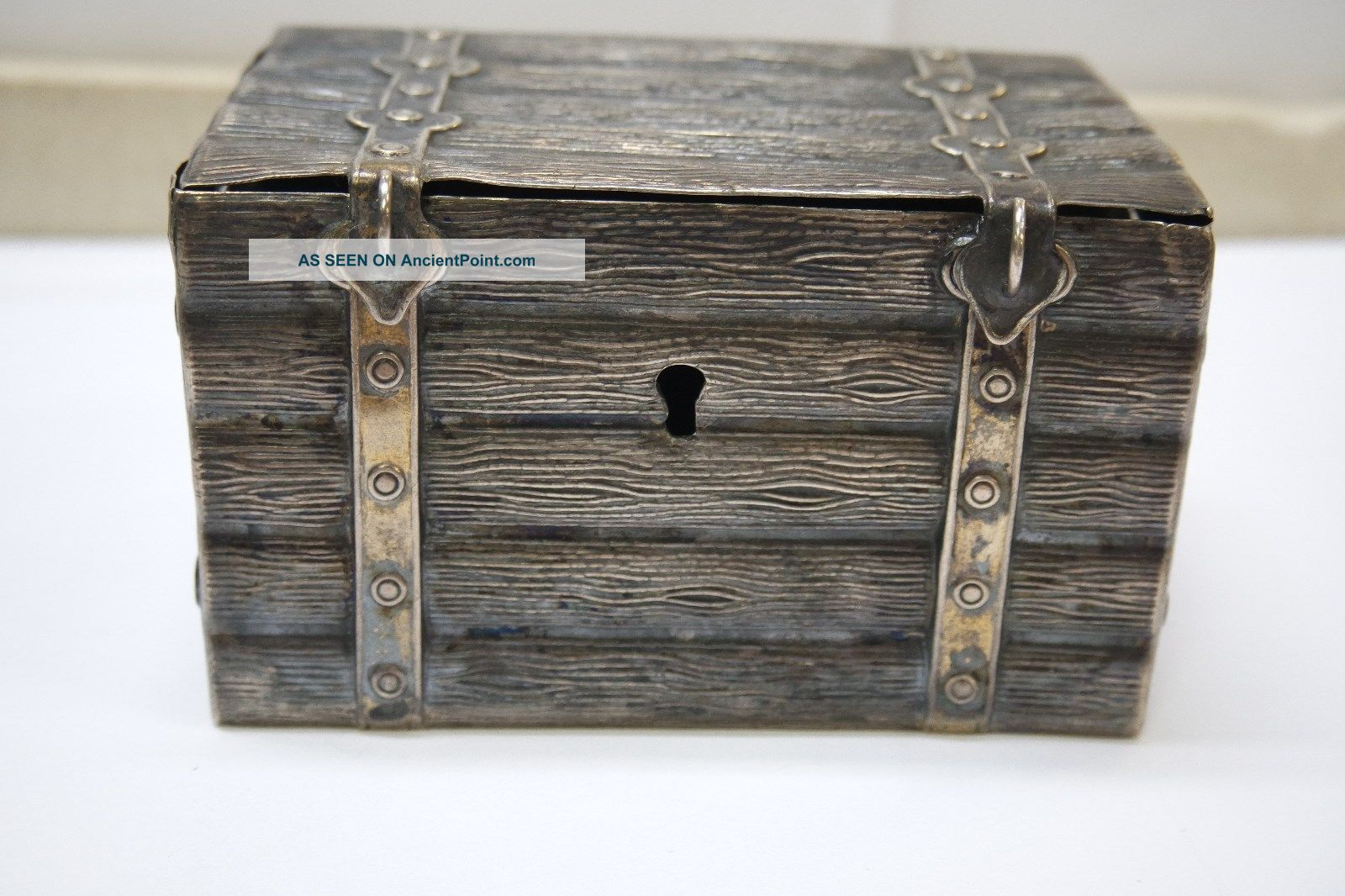Antique 12 Loth / 750 Silver Trunk Bank Germany photo