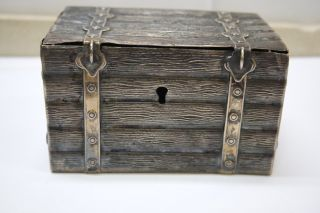 Antique 12 Loth / 750 Silver Trunk Bank photo
