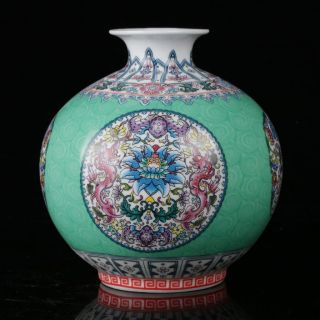 Chinese Famille Rose Porcelain Hand Painted Dragon & Flower Vase W Qianlong Mark photo