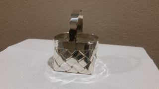 Cartier Sterling Silver Woven Basket With Handle. photo