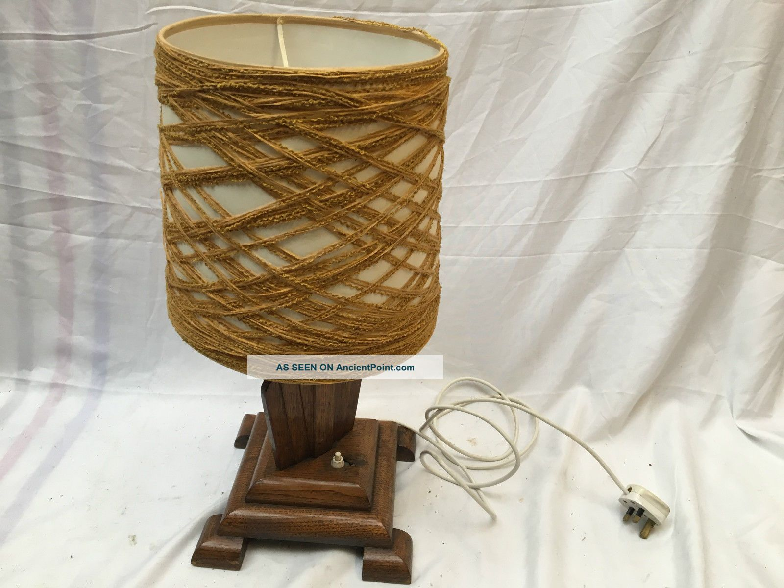 Vintage Art Deco Wooden Lamp Base And Shade 20th Century photo