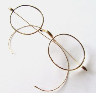 Antique Pre Civil War Solid 14k Yellow Gold Diminutive Eyeglasses Spectacles 19c photo