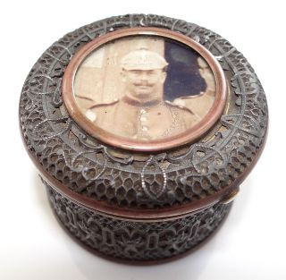 Antique 1910 German Wwi Copper & Metal Filagree Trinket Box With Soldiers Photo photo