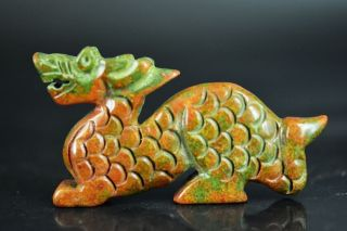 Delicate Chinese Old Jade Carved Auspicious Dragon Statue Jp183 photo