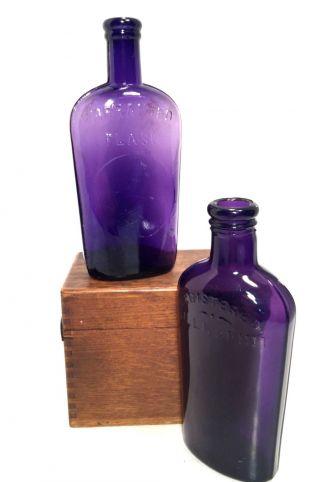 Whiskey Bottle Flasks Amethyst Purple Pressed Glassturn Of The Century Vtg Pair photo