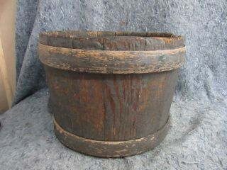 Large Primitive Wooden Shaker Style Bucket In Old Blue Paint photo