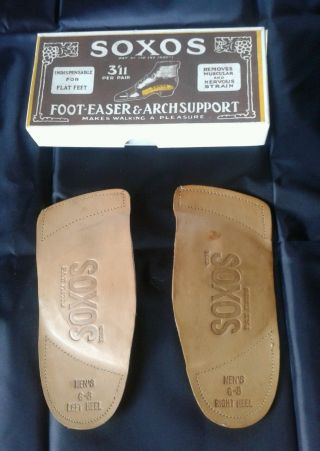 Vintage Antique 20s Soxos Leather Arch Support Orthotic 6 - 8 Medical Advertising photo