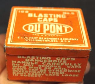 Antique 1920s 30s Dupont Blasting Caps Mining Advertising Can Tin Wow Cond. photo