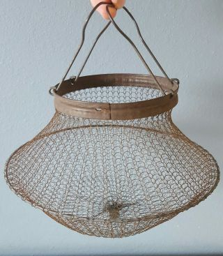 Antique Vintage French Country Fine Wire Egg Gathering Basket Primitive Display photo