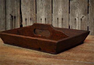 Antique Primitive Wood Utensil Tray Tote Carrier Box Farmhouse Aafa photo