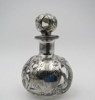 Antique Sterling Silver 925 Overlay Art Nouveau Glass Perfume Bottle