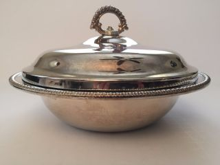 International Silver Company Serving Dish With Pyrex Glass Bowl photo