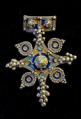 """Antique Huge Silver & Enamel Moroccan Pendant Berber Ethnic Tribal """"boghdad"""" Cro photo"""