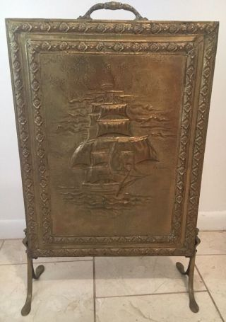 Antique Vtg French Fireplace Screen Guard Stand Brass Ship Nautical Decor Sea photo
