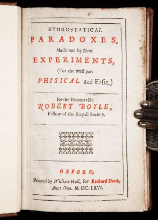 1666 Robert Boyle Hydrostatical Paradoxes 1st Fluid Mechanics Physics Experiment photo