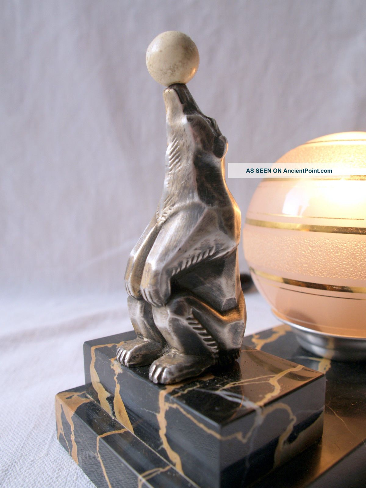French Art Deco Mood Lamp Glass Shade Spelter Bear Balancing A Ball - Marble Base 20th Century photo