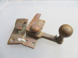 Antique Brass Sash Window Latch Catche Fastener Vintage Old Architectural Old photo