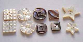 10 Antique Mother Of Pearl / Shell Carved Buttons Star Shape Flower Checkerboard photo