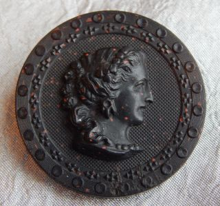Antique Black Resin Picture Button Lady Cameo 538 - A photo