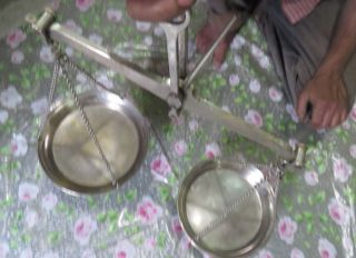 Vtg Brass Hand Balance Chain Hanging Mercantile Scale Indian Taraju For Jeweller photo