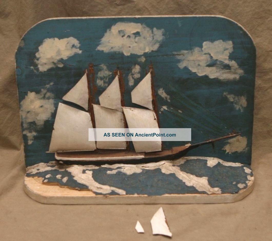 Vintage Maritime Folk Art Nautical Sailboat Model Ship Boat Diorama Signed Dated Folk Art photo