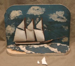 Vintage Maritime Folk Art Nautical Sailboat Model Ship Boat Diorama Signed Dated photo
