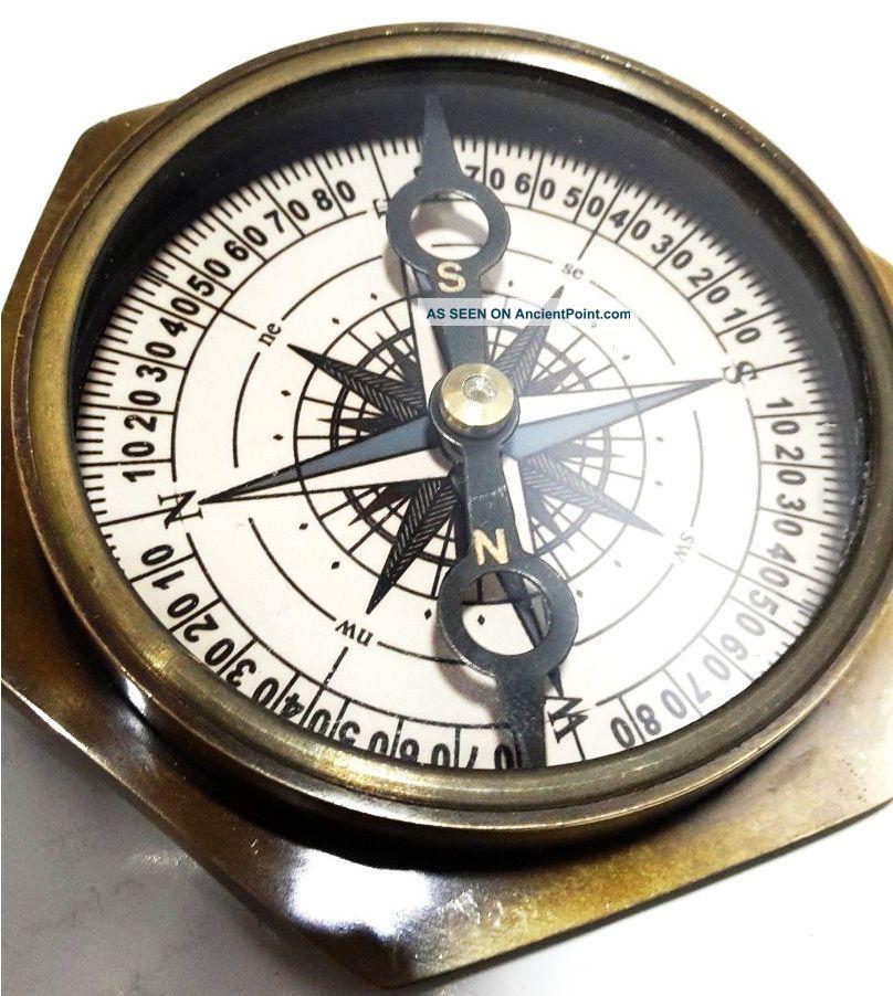 Vintage Maritime Antique Brass Lens Compass Nautical Decor & Collectible Item Compasses photo