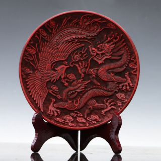 Oriental Vintage Delicate Lacquer Hand - Carved Dragon & Phoenix Plate photo