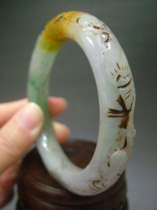 Antique Chinese Old Celadon Nephrite Grade A Jade Phoenix Bracele photo