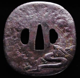 "Katana Tsuba 18 - 19th C Japanese Edo Antique Koshirae Fitting ""crabs & Brook"" 144 photo"