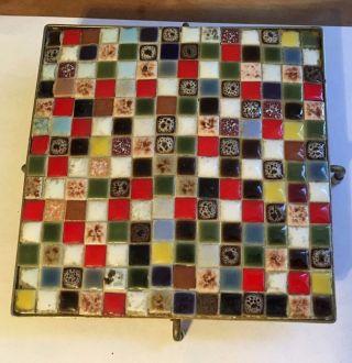 True Vntg Atomic Mid Century Gold Wire Multi - Color Ceramic Tile Mosaic Trivet photo
