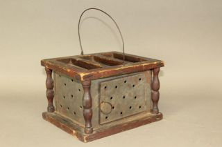 Rare Untouched Late 18th C Tin And Wood Foot Warmer Diamond Design Old Red Paint photo