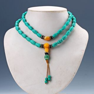 Chinese Old Turquoise & Beeswax Handwork Rosary Type Necklaces photo
