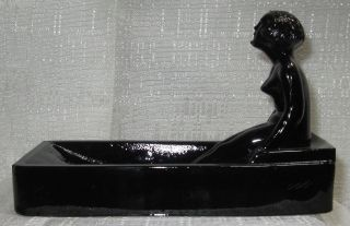 Art Deco Nymph Card Desk Ashtray Ring Soap Dish In Black Amethyst All Glass Usa photo