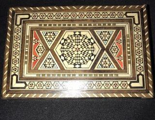 Antique Islamic Micro Mosaic Inlaid Wood Jewellery Trinket Box photo