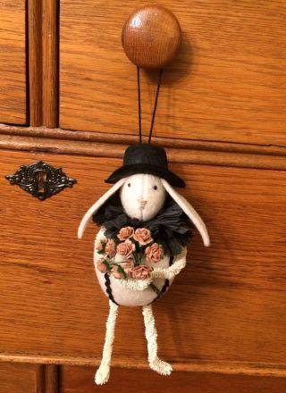 Primitive Folk Art Vermont Made Bunny Ornament Design By The Cheswick Company photo