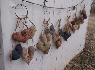 7 Primitive Grungy Folk Art Rustic Country Valentine Hearts Peg Hangers Wedding photo