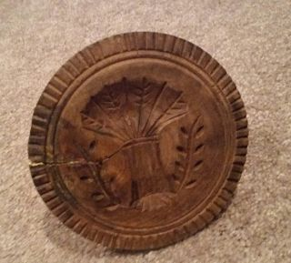 Primitive Antique Wood Carved Sheaf Of Wheat Stamp Print Butter Mold photo